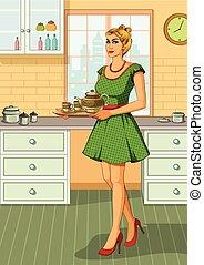 donna, servire, tè, retro