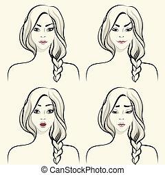 donna, set, facciale, emozioni