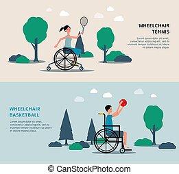 donna, set, uomo, invalido, bandiera, tennis, pallacanestro sedia rotelle