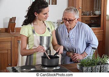 donna, signora, cottura, anziano, giovane