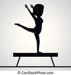 donna, silhouette, ginnasta, trave, nero, faceless, equilibrio