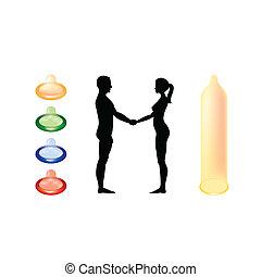donna, silhouette, -, illustrazione, nudo, tenere mani, uomo
