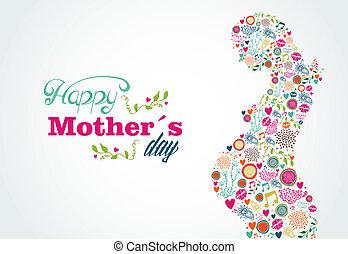 donna, silhouette, madri, incinta, illustrazione, felice