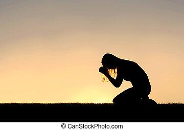 donna, silhouette, sedendosi, preghiera, cristiano