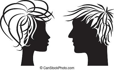 donna, silhouette, uomo