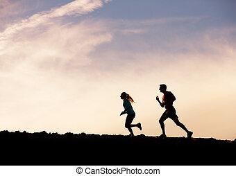 donna, silhouette, wellness, correndo, insieme, jogging, concetto, idoneità, tramonto, uomo