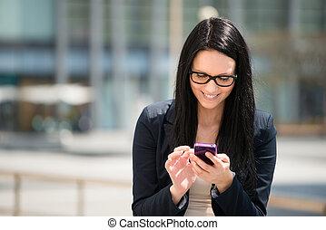 donna, smartphone, -, mobilità