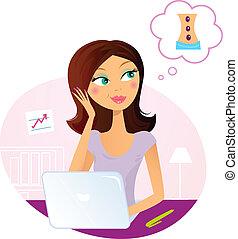 donna, sognare circa, ufficio, massaggio