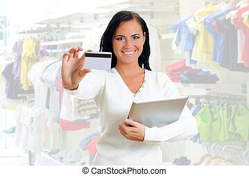 donna sorridente, spazio, credito, text., card.