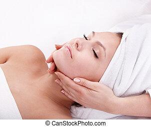 donna, spa., giovane, facciale, massage.