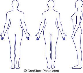 donna stando piedi, silhouette, nudo