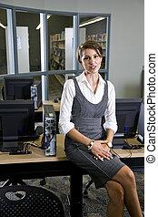 donna, stanza, seduta, giovane, biblioteca, computer
