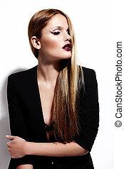 donna, stoffa, moda, luminoso, nero, trucco, sexy, modello, glamor, giovane, alto, elegante, caucasico, ritratto, look., bello