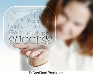donna, successo, diagramma flusso, mano, vetro, bolle, mostra