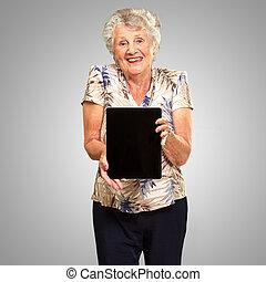 donna, tavoletta, presa a terra, digitale, ritratto, anziano