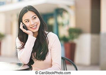 donna telefono, asiatico