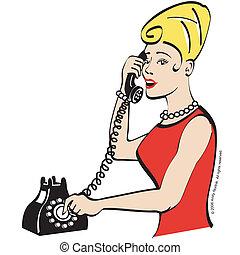donna, telefono, parlare, vendemmia
