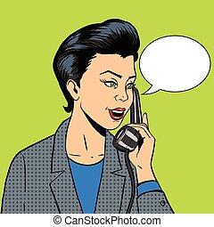 donna telefono, vettore, affari