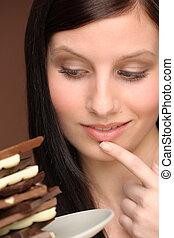 donna, tentazione, -, giovane, cioccolato, ritratto