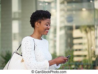 donna, testo, americano, africano, messaggio, lettura, felice