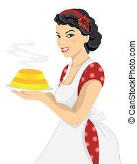 donna, torta, bello