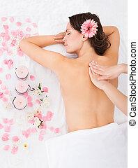 donna, trattamento, massaggio, prendere