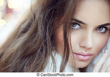 donna, trucco, fascino, moda, portrait., hair.