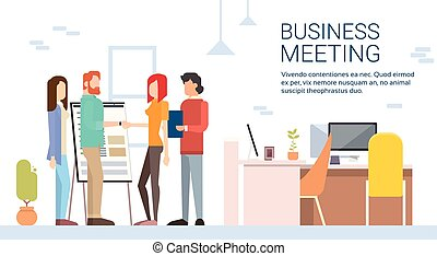 donna, ufficio, affari, moderno, mano, coworking, scuotere, casuale, uomo