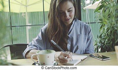 donna, ufficio, lavorativo, mobile, scrittura giornale, caffè