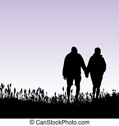 donna, uomo cammina