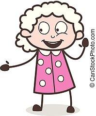 donna, vecchio, gesturing, eccitato, vettore, cartone animato