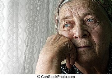 donna, vecchio, malinconico, triste, solitario, anziano