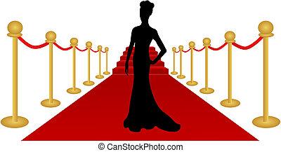 donna, vettore, silhouette, moquette rossa
