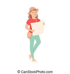 donna, viaggiante, mappa, turista, allegro, illustrazione, ragazza, dall'aspetto, cartone animato, giovane, estate, vettore, tracciato, vacanza