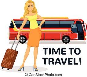donna, viaggiare, carrello