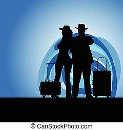 donna, viaggiare, illustrazione, chiaro di luna, borsa, uomo