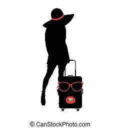 donna, viaggiare, illustrazione, faccia, borsa, ragazza, sensuale