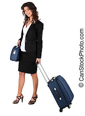 donna, wheeling, valigia