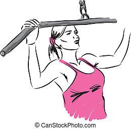 donna, work-out, illustrazione