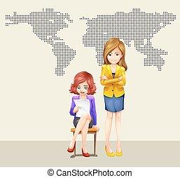 donne affari, mondo, due, mappa