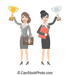 donne affari, sorridente, due, tenendo tazza