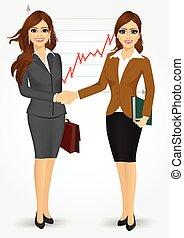 donne affari, tremante, due mani