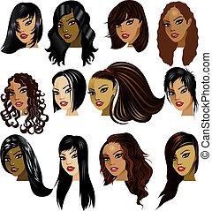 donne, brunetta, facce