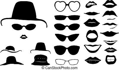 donne, cappelli, set, facce