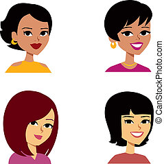 donne, cartone animato, avatar, multi-etnico