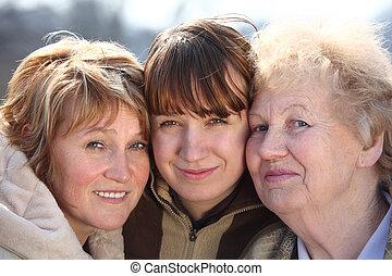 donne, generazioni, ritratto, uno, famiglia, tre