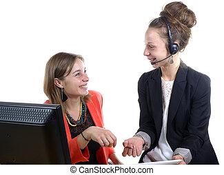 donne lavorare, giovane, ufficio, due