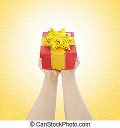 donne, regalo, mani