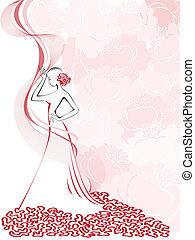 donne, rosa, silhouette