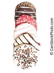 donuts, bianco, isolato, fondo, assortito